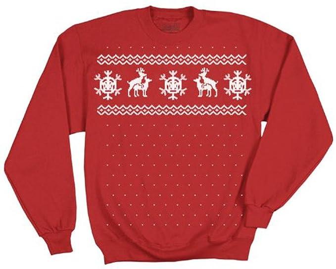 ugly christmas sweater reindeer deer humping red adult sweatshirt adult small - Adult Ugly Christmas Sweater