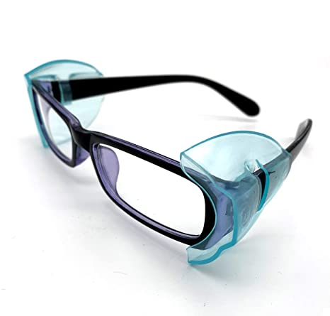 Protectores Laterales Transparentes para anteojos de Seguridad CAREOR ala de anteojos Antideslizante Protectores Laterales Flexibles se Adapta a Gafas peque/ñas//Medianas//Grandes