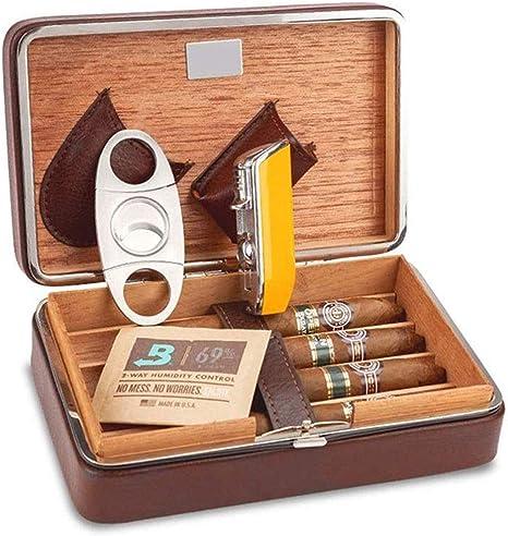 ZHJXJHE Cedar Caja de Cigarros Puros Tijeras Kit de La Caja de Cigarrillo Caja de Cuero Humidificador Portátil De Viaje: Amazon.es: Hogar