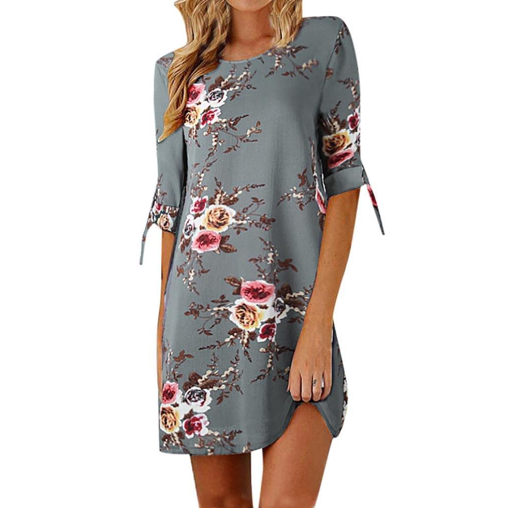 Shybuy 2018 Womens Dress,Floral Print Bowknot Sleeves Cocktail Mini Dress Ladies Casual Party Plus Size Dress (Gray, XXXXL)