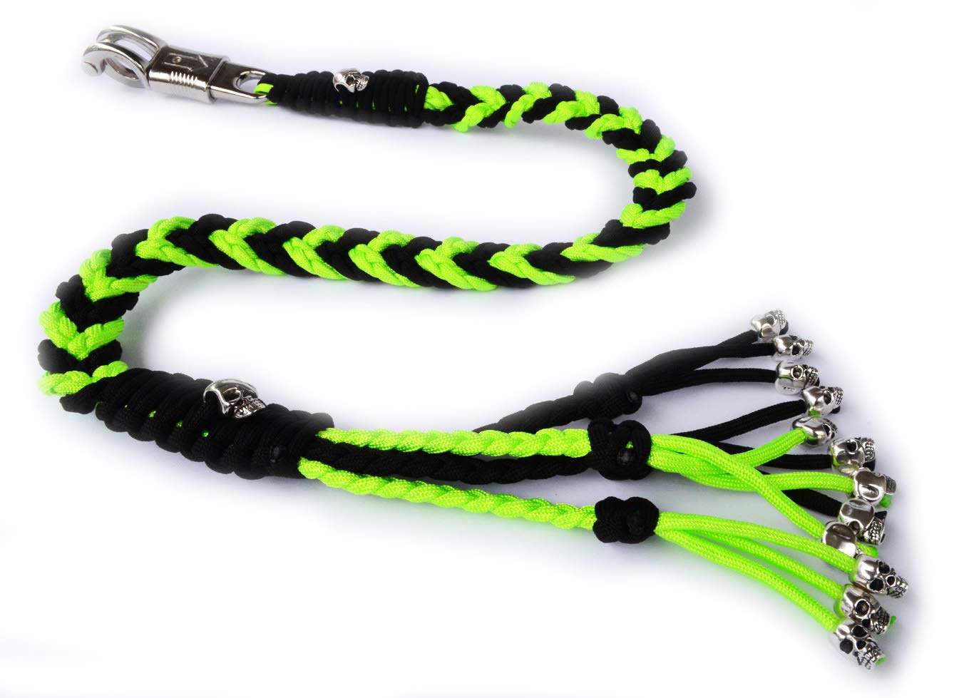 550 Paracord Motorcycle Whip Get Back Whip Metal Skulls 36'' - NEON/Black
