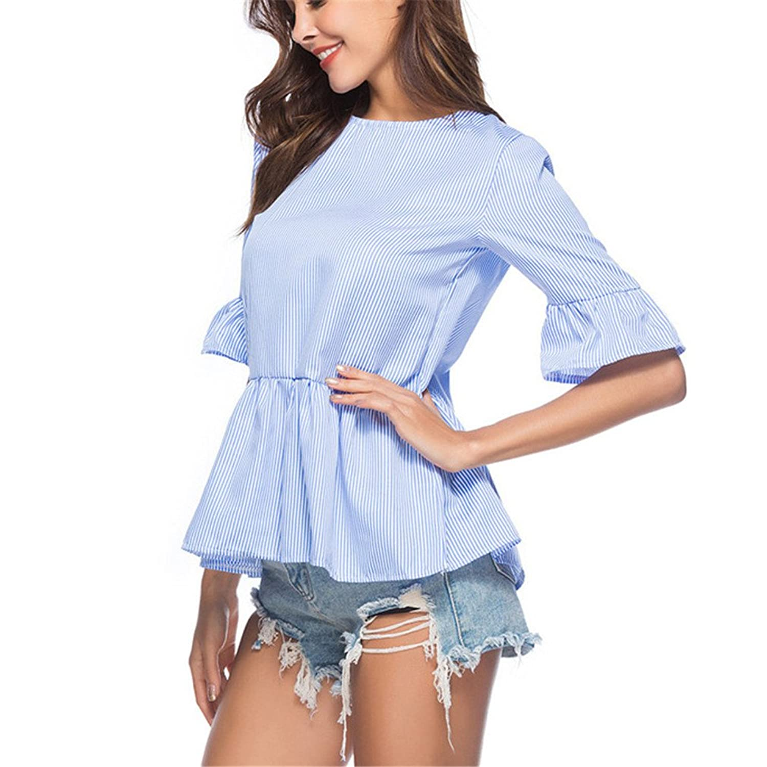 BBBai Women Summer Blue and White Striped Blouse Ruffle Half Sleeve Casual Womens Blouses at Amazon Womens Clothing store: