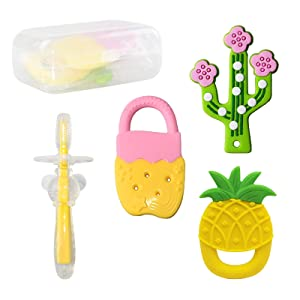 Baby Teether Toys 4PCS, Cactus Baby Teething Toy Baby Silicone Toothbrush Baby Teething Toy Set BPA-Free Food Grade Silicone Freezer Safe Teethers Set Baby Gift for 6-12 Months Infant