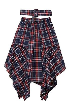 de8cf2ebc8 Nite closet Plaid Skirts for Women Knee Length Red Irish Skirt (Red/Navy)
