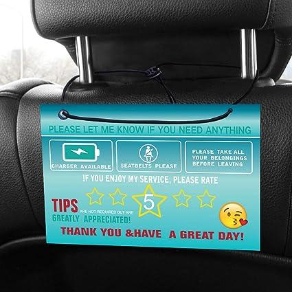 Dash /& Hanging signs Rating /& Tips Green Uber Lyft CUSTOM Set Headrest