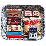 SKUNK LARGE MONEY ROLLING TRAY BUNDLE / KIT / SET - 110mm RAW ROLLER - RAW Organic & Black King Size Slim Rolling Papers - Cut Nic Cigarette Filter - Doob Tube - RAW Cotton Filters – RAW scoop card – RAW filter tips