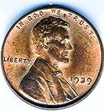"""1939-P Lincoln 'wheat"""" Cent, UNC"""