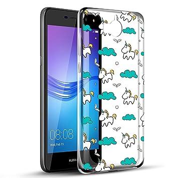 Eouine Funda Huawei Y6 2017, Cárcasa Silicona Transparente con Dibujos Diseño Antigolpes de Protector Bumper Case Cover Fundas para Movil Huawei Y6 / ...