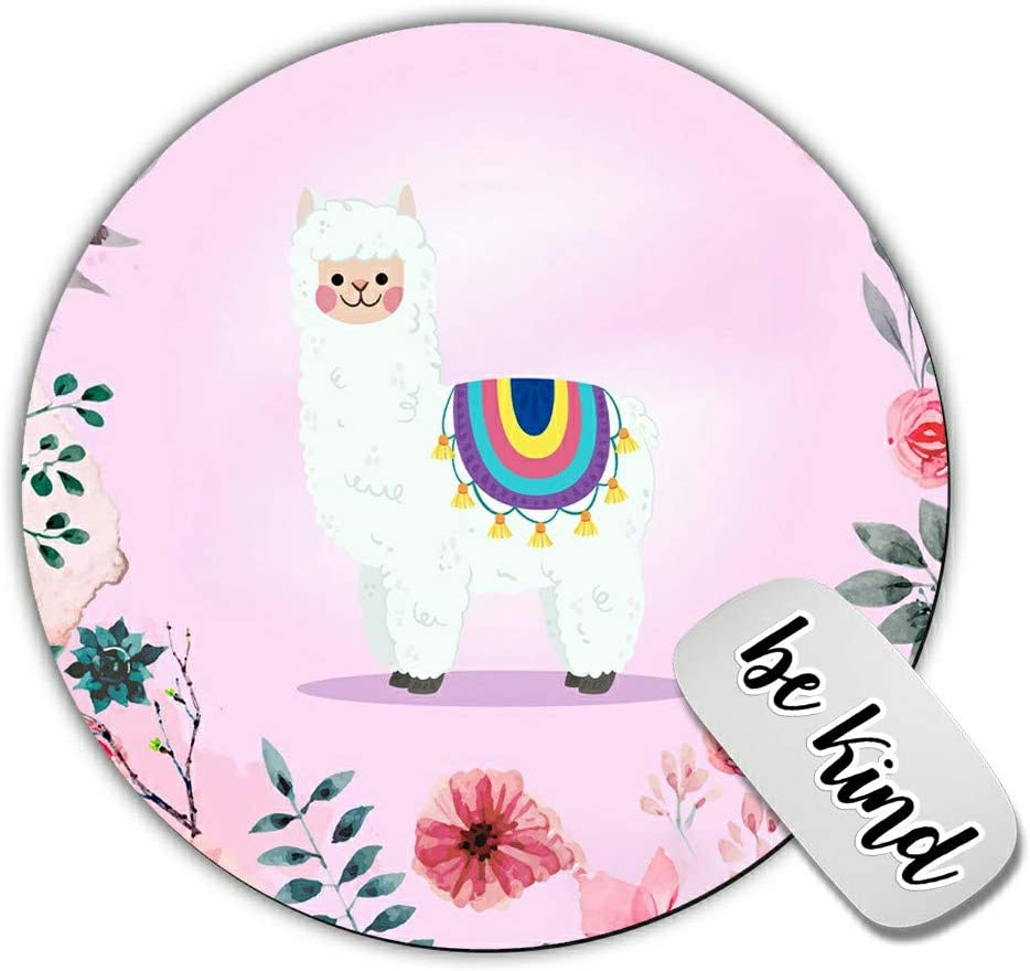 Dikoer Cute Llama with Flower Round Mouse Pad for laptops Office Computer Decor,Cute Gaming Mousepad with Design,Non Slip Rubber Mouse mat and be King Sticker