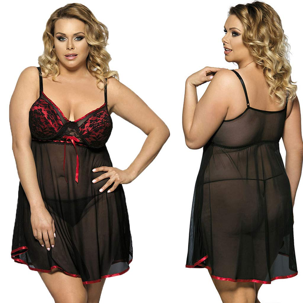 Plus Size Lingerie Womens Lace Bow Lingerie Nightwear Underwear Sleepwear Dress Alalaso