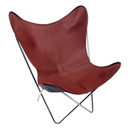 Merveilleux Classic Cover Cowhide Leather BKF Butterfly Chair   Only Cover. (RED)