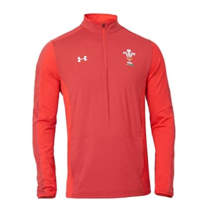 f027b8f4c42 Amazon.com : Under Armour 2018-2019 Wales Rugby WRU 1/4 Zip Training Top ( Red) : Sports & Outdoors
