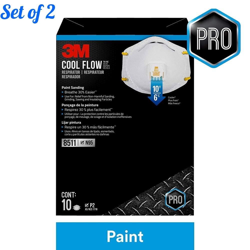3M 8511 Respirator, N95, Cool Flow Valve (10-Pack) (Set of 2)
