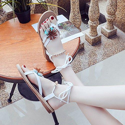 Cyber été Bohême Sandales Plates Avec Fleur Élastique À Lanières Lacets Sandale Blanc