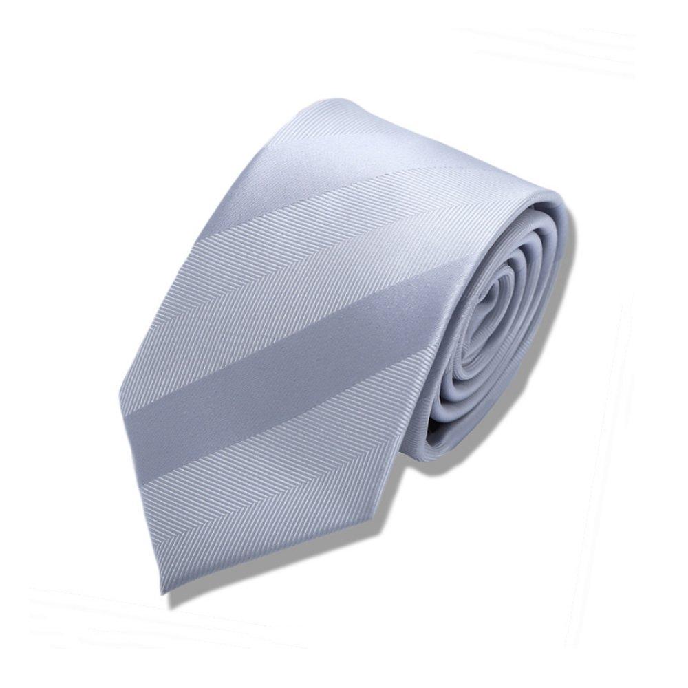 Y-WEIFENG Corbata de Rayas con Lazo de Plata y Seda Blanca y ...