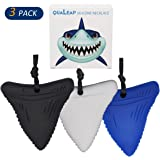 Shark Tooth Chew Necklace for Kids, Boys or Girls - Chewing Necklace Teething Necklace Teether Necklace Chew Toys Teething Toys - Designed for Chewing, Autism, Autism Sensory Teether Toy (3 Pack)