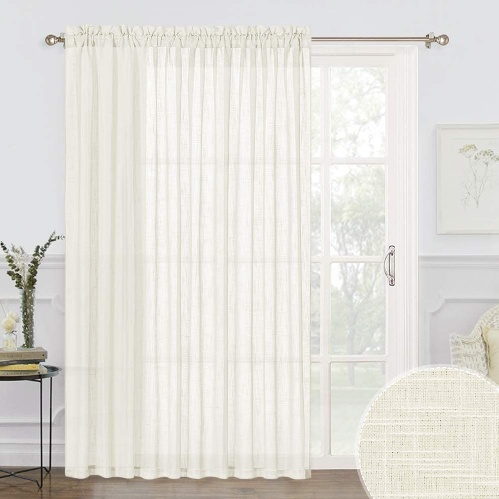 RYB HOME Semi Sheer Curtains - Patio Sliding Door Curtains Linen Textured Fabric Light Glare Filtering Airy Sheer for Living Room Dining Bedroom Sun Room, Natural, 100 inch Wide x 84 inch Long, 1 Pc