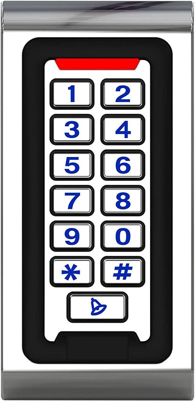 HWMATE Waterproof Zinc Alloy Metal Case RFID 125khz Access Control Keypad Work Stand-Alone for Security System