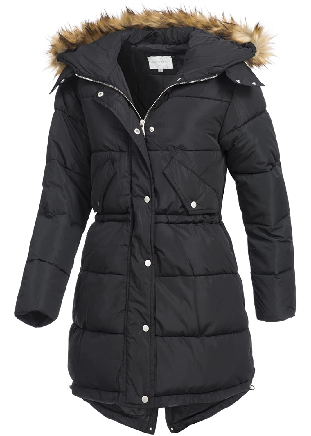 in vogue Damen Wintermantel IV095, warmer Fishtail-Parka mit Kapuze & Webpelz, schwarz