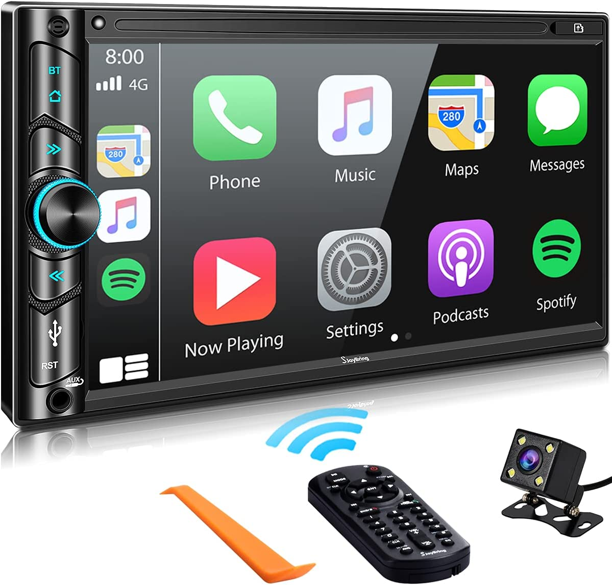 Advanced Double Din Car Stereo Compatible with Voice Control Apple Carplay, 7
