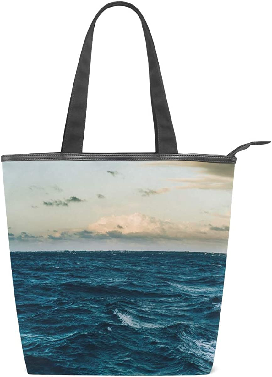 Blue Ocean H2o Nature Leisure Fashion Canvas Handbag for Women Large Tote Bag Shoulder Bag for Gym Beach Travel Daily Bags 11/×4/×13.6 in