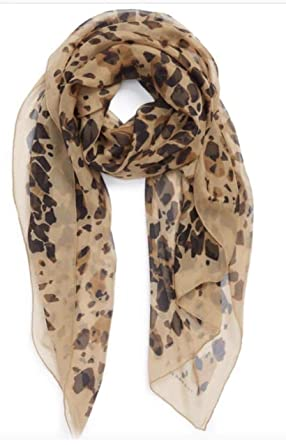 f98c3cf247e4e Burberry Animal Print Silk Scarf Military Camel Print at Amazon Women s  Clothing store