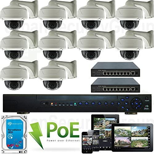 USG High Definition 10 Camera 1080P 2MP Full HD PoE IP CCTV Kit 1x 32 Channel NVR 10x 1080P 2.8-12mm PoE IP Dome with Bracket Cameras 2X 10 Port PoE Switch 1x 4TB HDD Free Phone App