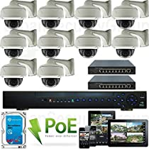 USG High Definition 10 Camera 1080P PoE IP CCTV Kit: 1x 24 Channel NVR + 10x 1080P 2.8-12mm PoE IP Dome with Bracket Cameras + 2x 9 Port PoE Switch + 1x 3TB HDD *** Affordable High Definition CCTV Video Surveillance!