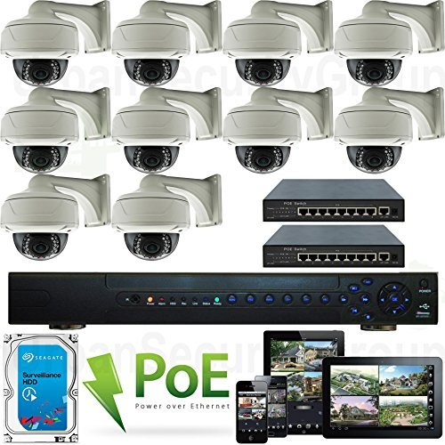 USG High Definition 10 Camera 1080P 2MP Full HD PoE IP CCTV Kit: 1x 32 Channel NVR + 10x 1080P 2.8-12mm PoE IP Dome with Bracket Cameras + 2X 10 Port PoE Switch + 1x 4TB HDD : Free Phone App