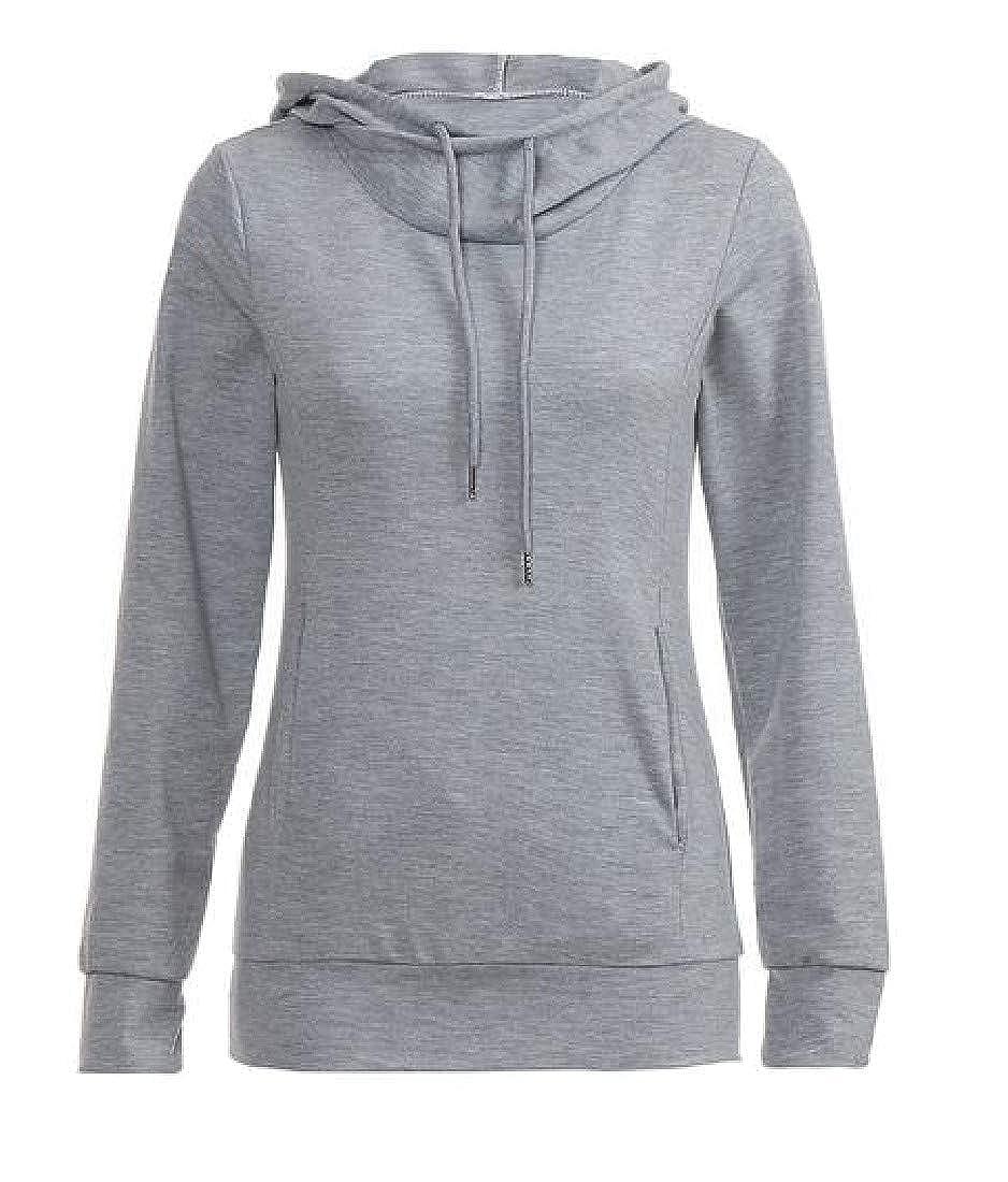 YUNY Women Pure Color Long Sleeve Pocket Drawstring Top Hoodies Sweatshirt Light Grey XL
