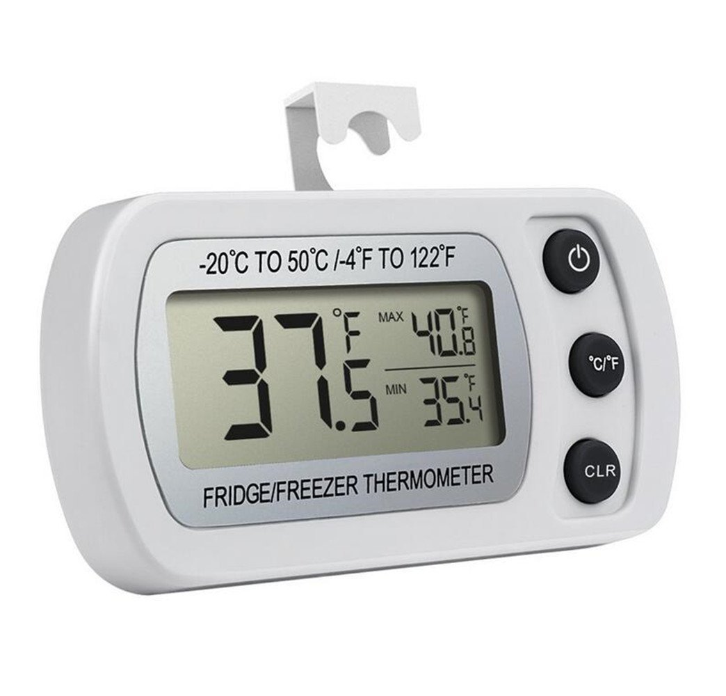Waterproof Refrigerator Thermometer Digital Freezer Thermometer With Hook And LCD Display Max Min Function Perfect For Home Restaurants Bars Cafes White