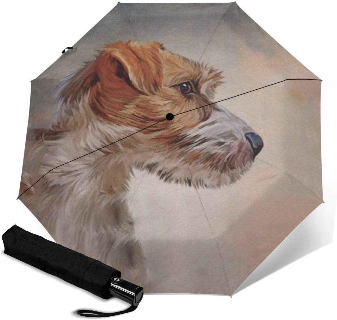 Jack Russell Terrier Dog Automatic Open Folding Compact Travel Umbrellas For Women