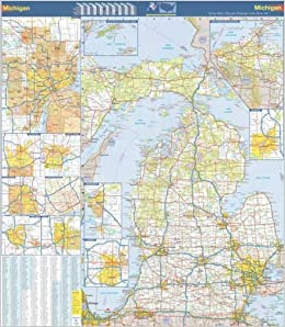 X Michigan State Official Executive Laminated Wall Map MI - Mi state map