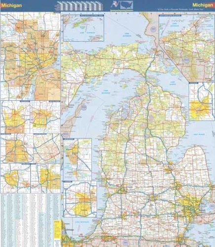 Michigan Wall Map - 36x40 Michigan State Official Executive Laminated Wall Map