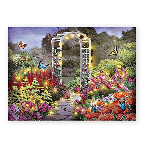Collections Etc Springtime Lighted Wall Canvas Featuring Butterfly Garden Scene