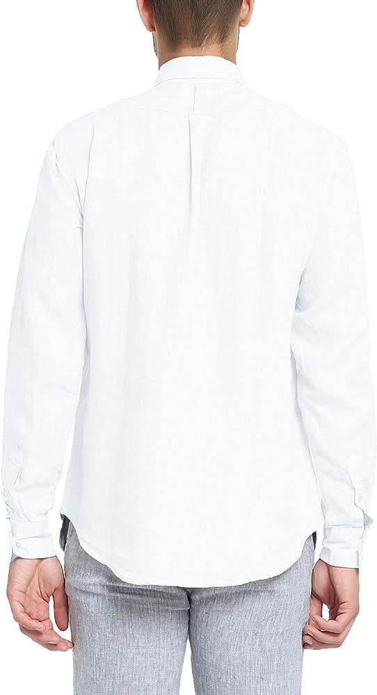 Najia Symbol Camisa de 100% Lino Tela Hombre Manga Larga Casual Button Down Collar 340 (Blanco, S/ES 46): Amazon.es: Ropa y accesorios