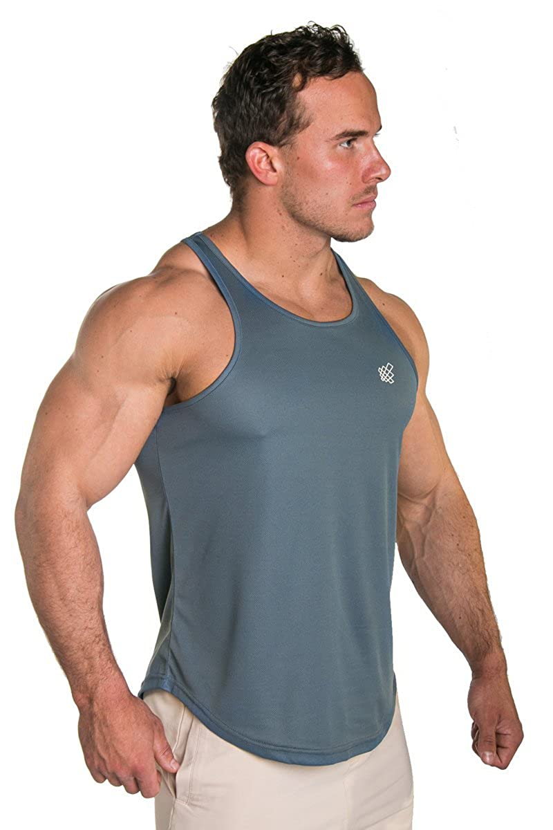 Jed North Mens Performance Mesh Bodybuilding Workout T-Shirt Gray