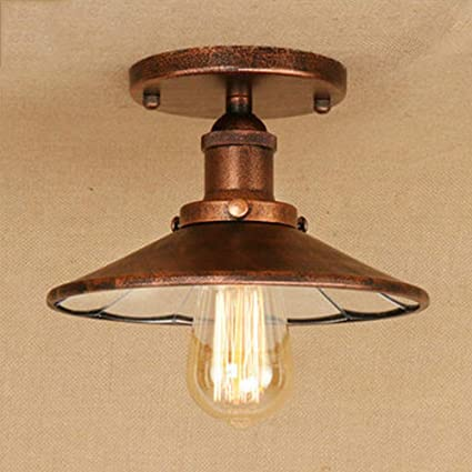 Ceiling Lights Chandeliers Round Retro Ceiling Light Vintage Ceiling Lamp Hallway Studio Hall Gallery Entrances Light Indoor Ceiling E27 Rust Amazon Ca Sports Outdoors