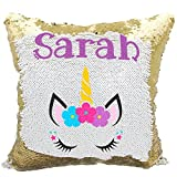 Personalized Mermaid Reversible Sequin Pillow, Custom Unicorn& Flowers Sequin Pillow (White/Gold)