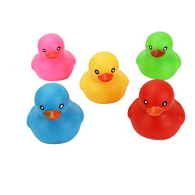 HUELE 10Pcs Squeak Rubber Duck Toys for Kids Shower: Toys & Games