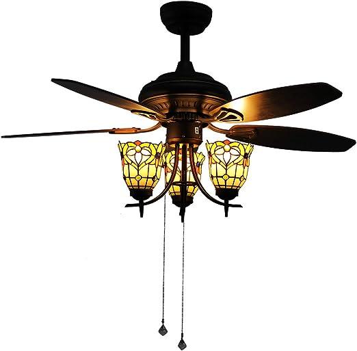 Makenier Vintage Tiffany - Kit de luz para ventilador de techo ...