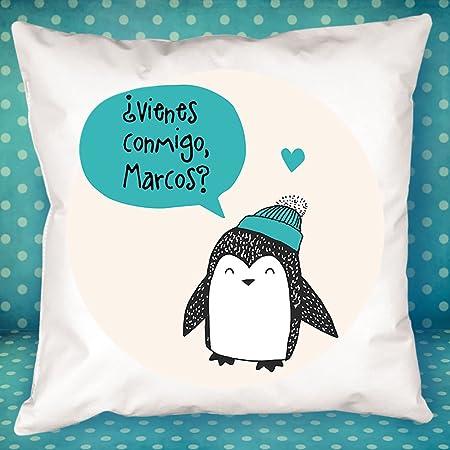 Calledelregalo Cojín Personalizado pingüino Azul - Regalo Original y Divertido para el cumpleaños de un Amigo, tu Pareja en vuestro Aniversario, ...