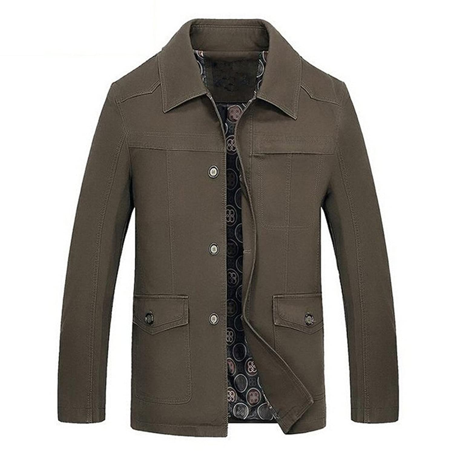 Men's Turn Down Collar Single Breasted Big&Tall Retro Trench Jackets