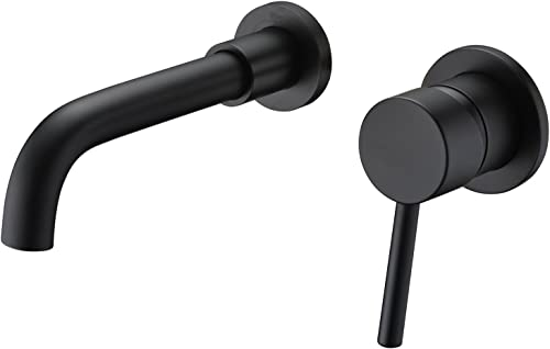 Wall Mount Bathroom Faucets Matte Black, Rough-in Valve Included
