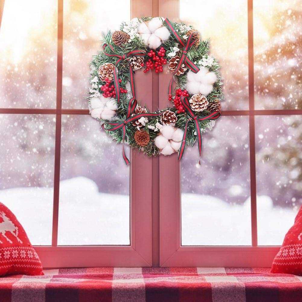 Cotone Coni per Porta dingresso caminetto Decorazione della Finestra 30 30 cm Fiocco Yunt-11 Ghirlanda di Natale Corona di pigne , Decorazione Ghirlanda di Natale con Pino Parete