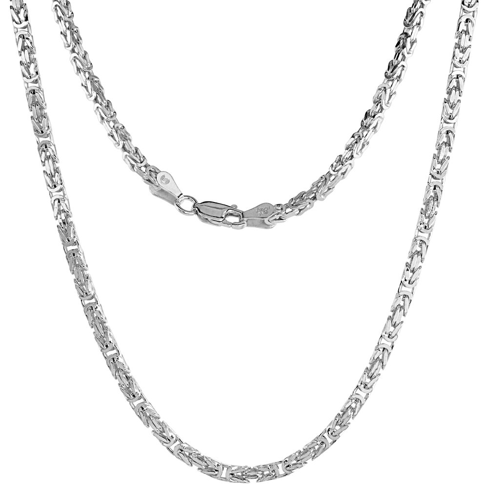 Sterling Silver SQUARE BYZANTINE Chain Necklace 2.6mm Silver finish Nickel Free Italy, 30 inch