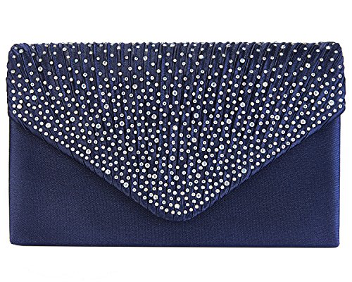 Charming Tailor Clutch Purse Evening Bag Envelope Diamante and Pleated Flap Handbag (Navy ()