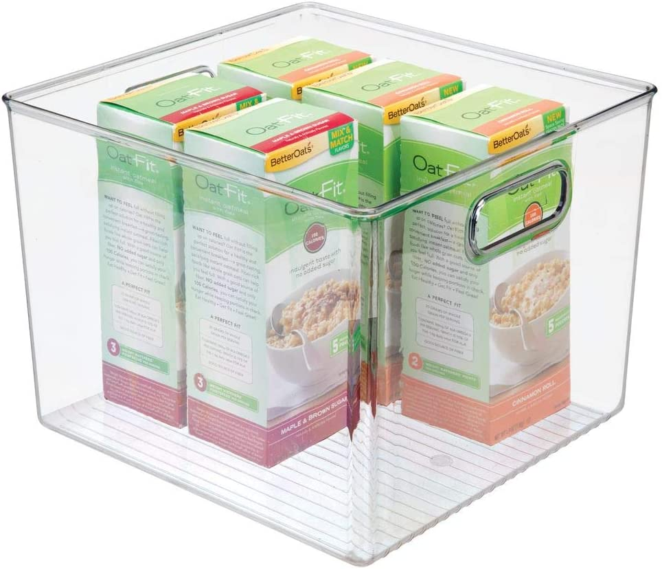 "mDesign Plastic Food Storage Container Bin with Handles - for Kitchen, Pantry, Cabinet, Fridge/Freezer - Large Organizer for Snacks, Produce, Vegetables, Pasta - BPA Free, 10"" Square - Clear"