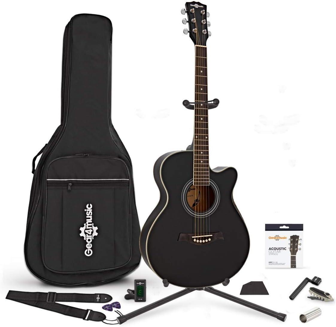 Set Completo de Gear4music de Guitarra Acústica con Cutaway Negra