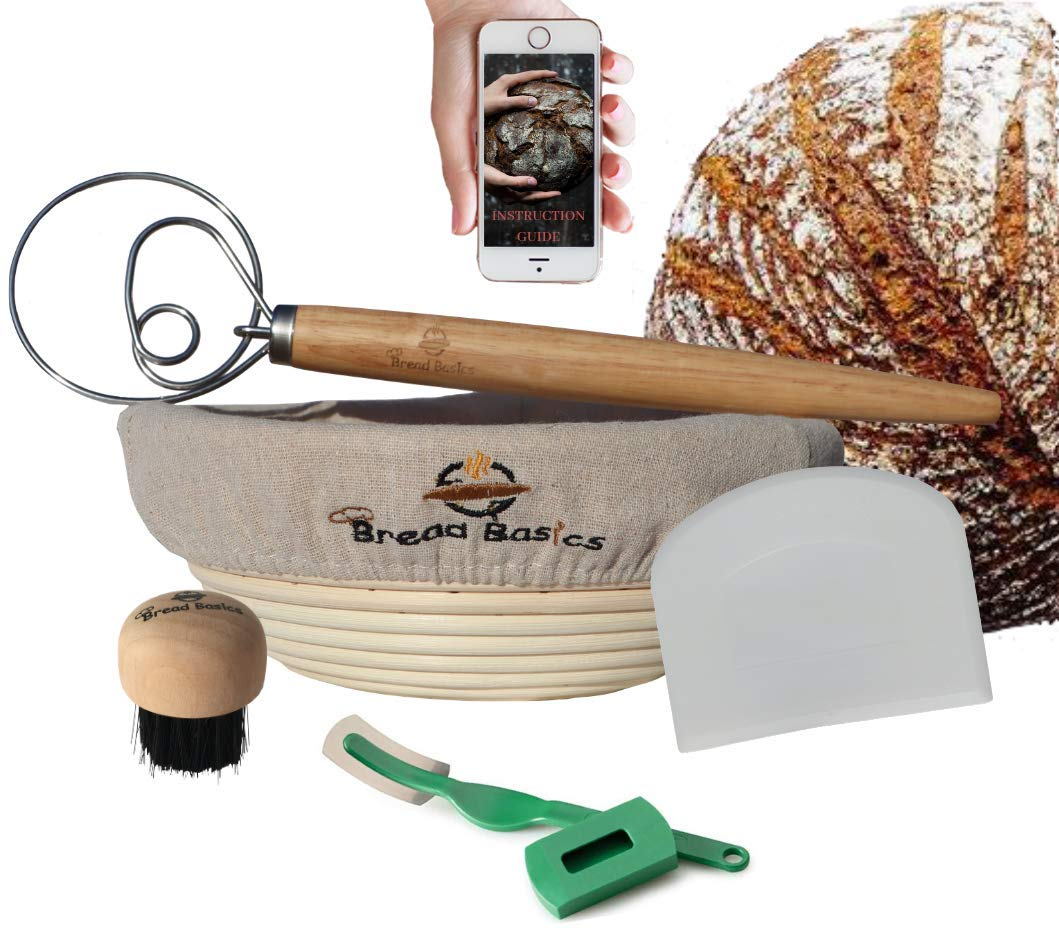 BreadBasics Banneton Proofing Basket | Premium Homemade Bread Starter Kit for Beginners | Includes Step by Step eBook, Bowl Scraper & Whisk, Lame, Brotform Liner, Cleaning Brush | Sourdough Supplies by BreadBasics